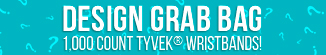 Design Grab Bag 1000 ct Tyvek Wristbands